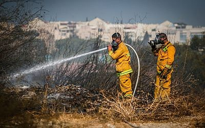 Firefighters extinguish the remains of a fire in at a forest in the city of Beit Shemesh, August 26, 2019. (Flash90)