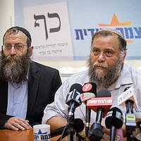 Bentzi Gopstein (R) and Baruch Marzel seen during a press conference held by the Otzma Yehudit party in Jerusalem, August 26, 2019. (Yonatan Sindel/Flash90)