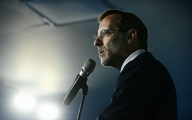 Zehut party chairman Moshe Feiglin at a party event in Tel Aviv, on August 27, 2019. (Tomer Neuberg/Flash90)