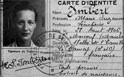 French spymaster Marie-Madeleine Fourcade's false identity card as Marie-Suzanne Imbert. (Granger)