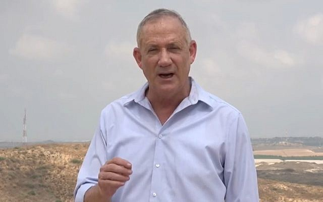 Screen capture from video of Blue and White Party leader MK Benny Gantz during a tour of communities on the border with the Gaza Strip, August 18, 2019. (Channel 13 News)