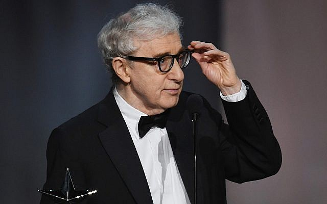 Woody Allen onstage during the American Film Institute's Life Achievement Award Gala for Diane Keaton at the Dolby Theatre in Hollywood, California, June 8, 2017. (Kevin Winter/Getty Images via JTA)