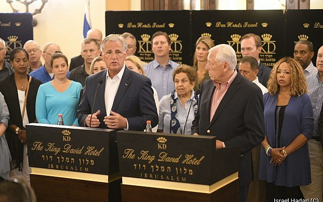 House Majority Leader Steny Hoyer, right, and Republican Leader Kevin McCarthy with a delegation of members of the United States House of Representatives in Jerusalem, August 11, 2019 (courtesy Hadari Photography)