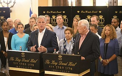 House Majority Leader Steny Hoyer, right, and Republican Leader Kevin McCarthy with a delegation of members of the United States House of Representatives in Jerusalem, August 11, 2019. (courtesy, Hadari Photography)