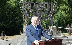 PM Netanyahu speaks at a monument for Jewish victims killed at Babi Yar in Kyiv, Ukraine, August 19, 2019. (Amos Ben-Gershom (GPO)