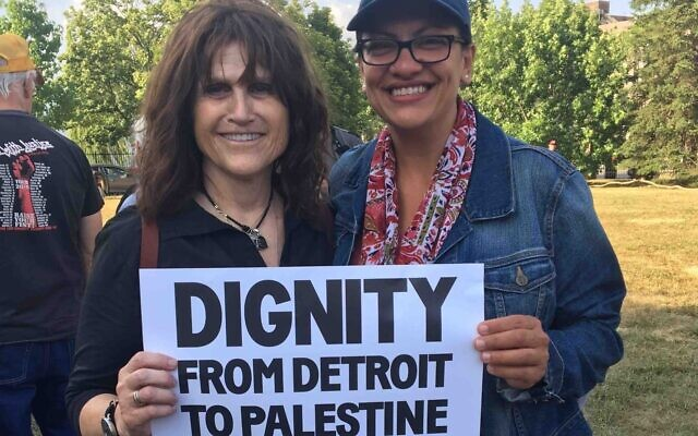 Illustrative: Rep. Rashida Tlaib (right) attends a Shabbat gathering in a Detroit park on August 16, 2019, arranged by Jewish Voice For Peace Action to show the freshman congresswoman support, after a planned visit to Jerusalem and the West Bank by Tlaib and colleague Ilhan Omar was barred by Israel. (JVP, via JTA)