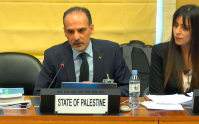 Palestinian officials during the 99th session of the UN Committee on Elimination of Racial Discrimination in Geneva, August 14, 2019 (screenshot UN Web TV)
