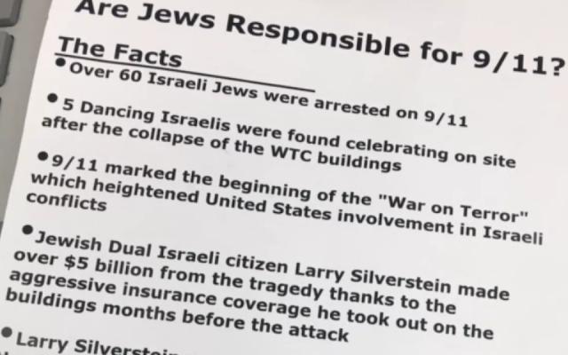 Part of the flyer found at multiple locations in Novato, Calif. (Matt Elkins/J. The Jewish News of Northern California via JTA)