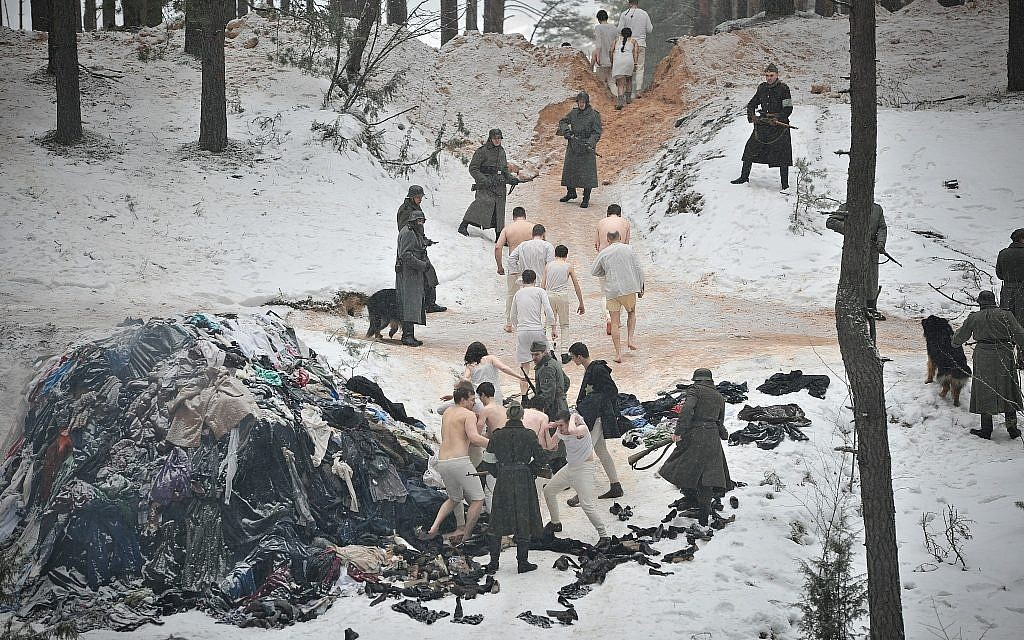 The infamous Rumbula massacre, in which around 25,000 Jews died over two days in late 1941, is depicted in a still from the new Latvian Holocaust historical drama film 'The Mover.' (Courtesy Washington Jewish Film Festival)