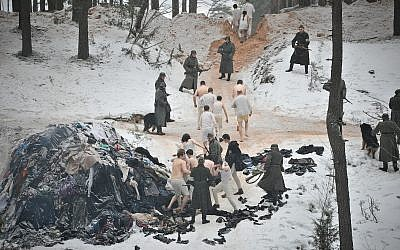 Illustrative: The infamous Rumbula massacre, in which around 25,000 Jews died over two days in late 1941, is depicted in a still from the new Latvian Holocaust historical drama film 'The Mover.' (Courtesy Washington Jewish Film Festival)