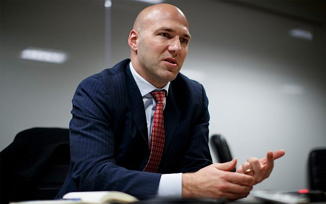 Rep.Anthony Gonzalez, R-Ohio speaks during an interview at the National Republican Congressional Committee offices in Washington, Nov. 29, 2018. (AP Photo/Carolyn Kaster)