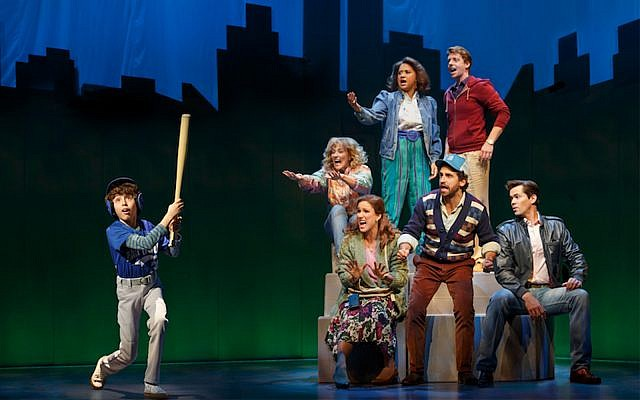 """Anthony Rosenthal, Betsy Wolfe, Tracie Thoms, Christian Borle, Stephanie J. Block, Brandon Uranowitz and Andrew Rannells in the musical """"Falsettos,"""" currently on Broadway. (Joan Marcus via JTA)"""