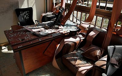 Damage inside the media office of Hezbollah in a southern suburb of Beirut, Lebanon, August 25, 2019. (AP Photo/Bilal Hussein)