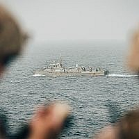 US Marines monitor an Iranian navy vessel from the USS John P. Murtha in the Strait of Hormuz, August 12, 2019. (U.S. Marine Corps photo by Staff Sgt. Donald Holbert/Released)