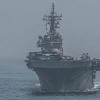 American warships USS Boxer, front, USNS Tippecanoe, right, USS John P. Murtha  transit the Strait of Hormuz, July 18, 2019. (U.S. Marine Corps photo by Cpl. Jason Monty/Released)