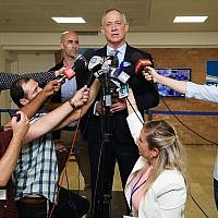 Benny Gantz, head of Blue and White party, speaks outside the Central Elections Committee in Jerusalem, August 1, 2019. (Noam Revkin Fenton/Flash90)