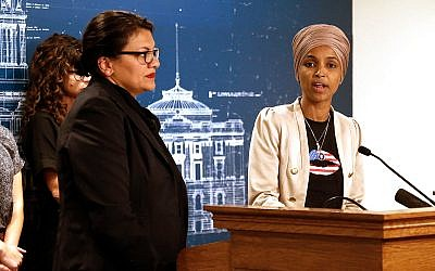 Rep. Ilhan Omar, D-Minn., right, and Rep. Rashida Tlaib, D-Mich., at a news conference, August 19, 2019 at the State Capitol in St. Paul, Minnesota, after their planned trip to Jerusalem and the West Bank was blocked by Israel. (AP Photo/Jim Mone)