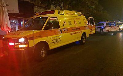 Emergency responders at the scene of a suspected murder in Netanya, August 11, 2019. (MDA)