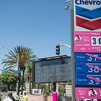 "A Chevron gas station offered gas for 30 cents a gallon during the Amazon Studios ""Maisel Day"" in Santa Monica, Calif., Aug. 15, 2019. (Morgan Lieberman/Getty Images via JTA)"