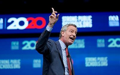 Democratic presidential candidate and New York City Mayor Bill de Blasio speaks during the National Education Association Strong Public Schools Presidential Forum, July 5, 2019, in Houston. (AP Photo/David J. Phillip)