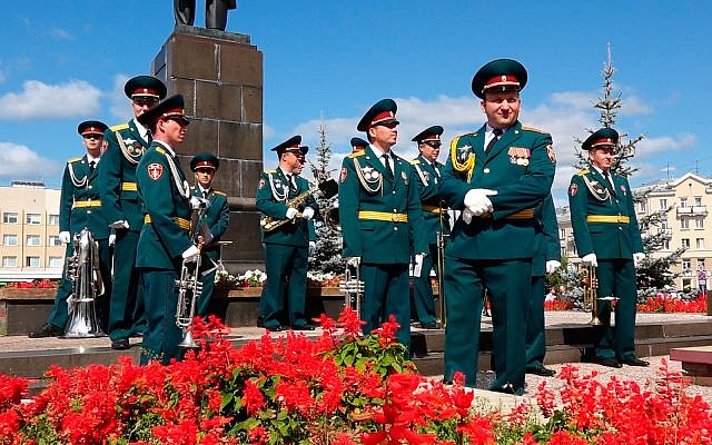 A Russian military band prepares to attend the funerals of five Russian nuclear engineers killed by a rocket explosion in Sarov, 370 kilometers (230 miles) east of Moscow, which has served as a base for Russia's nuclear weapons program since the late 1940s, in this grab taken from footage provided by the Russian State Atomic Energy Corporation ROSATOM press service, August 12, 2019. (Russian State Atomic Energy Corporation ROSATOM via AP)