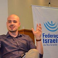 Andre Lajst during a lecture in Porto Alegre, Brazil, on Dec. 4, 2017. (Courtesy of the Rio Grande do Sul Jewish Federation via JTA)