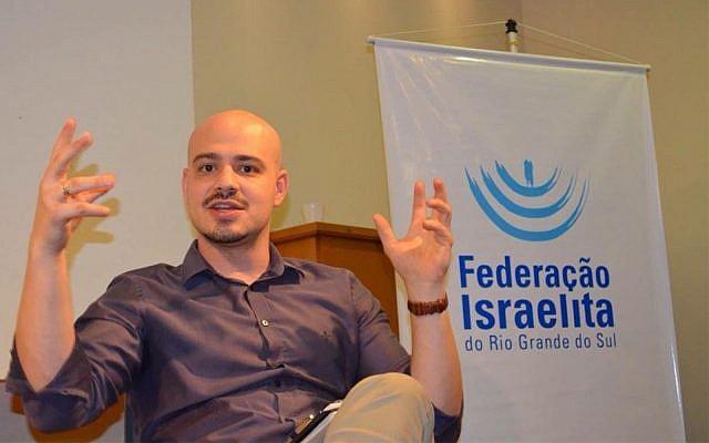 Andre Lajst during a lecture in Porto Alegre, Brazil, on Dec. 4, 2017. (Courtesy of the Rio Grande do Sul Jewish Federation via JTA)