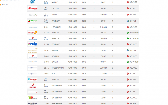 An online timetable on the Israel Airports Authority website on the morning of August 12, 2019, showing many delayed flights due to a malfunction with the baggage handling system at Ben Gurion Airport. (Screenshot: Israel Airports Authority website)