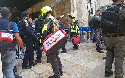 The aftermath of a stabbing attack in Jerusalem's Old City, August 15, 2019. (Magen David Adom)