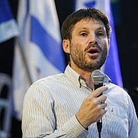 Transportation Minister Bezalel Smotrich at a URWP party conference in Lod, July 22, 2019. (Flash90)