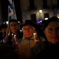 Illustrative: Spanish Jews celebrate Hanukkah in Madrid, December 10, 2015. (AP Photo/Francisco Seco)
