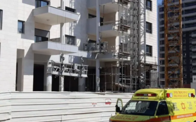 A construction site in Hod Hasharon where a construction worker was killed on August 4, 2019. (Israel Police)