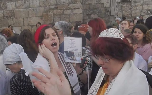 Women of the Wall at the Western Wall on August 2, 2019 (Courtesy Women of the Wall)