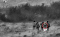 IDF footage of what the army says is Iranian operatives attempting to launch an explosives-laden drone into northern Israel from a Syrian border town on August 22, 2019. (Israel Defense Forces)