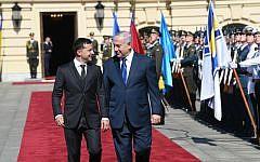Ukrainian President Volodymyr Zelensky, left, hosts PM Netanyahu at his official residence in Kyiv, August 19, 2019 (Amos Ben Gershom/GPO)
