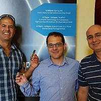 Members of Intel's Haifa team at the presentation of the new AI chip at the Hot Chips conference; Aug. 20, 2019 (Courtesy)