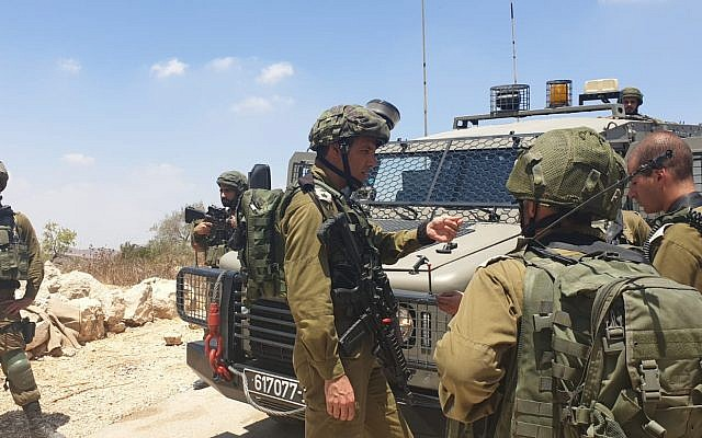 IDF troops conduct search operations in the Bethlehem area after the body of a student, Dvir Sorek, later found near the settlement of Migdal Oz in Gush Etzion, on August 8, 2019. (Israel Defense Forces)