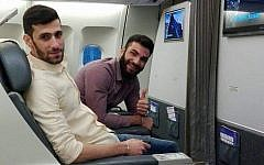 Hassan Yousef Zabeeb, left, and Yasser Ahmad Daher, two Hezbollah members killed in an Israeli airstrike in Syria to thwart a plot to launch armed drones into Israel, seen flying to Iran from Lebanon in an undated photograph. (Israel Defense Forces)