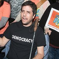 Ady Barkan attends the Los Angeles Supports a Dream Act Now! protest at the office of California Senator Dianne Feinstein on January 3, 2018 in Los Angeles, California. (Gabriel Olsen/Getty Images via JTA)