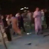 Screen capture from video said to show the scene outside a wedding hall after an explosion killed dozens inside, Kabul, Afghanistan, August 17, 2019. (Twitter)