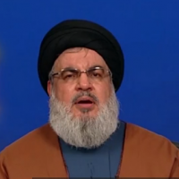 Hezbollah chief Hassan Nasrallah speaks on the 13th anniversary of the Second Lebanon War, August 16, 2019 (screenshot)