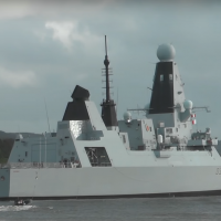 The HMS Defender seen off the British shore in 2018 (YouTube screenshot)