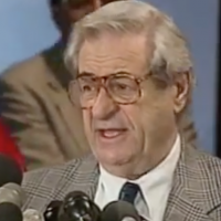 Bahr in 1998, after a successful strike by Communications Workers of America in the fallout of the split of AT&T and Bell Labs. (Screenshot from YouTube via JTA)