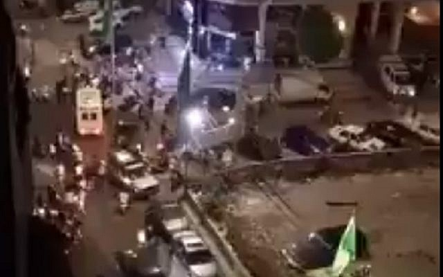 The scene of where an alleged Israeli drone fell in southern Beirut on August 25, 2019. (screen capture: Twitter)