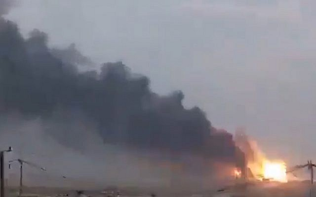 Explosions seen at a base south of Baghdad on August 12, 2019. (screen capture: Twitter)