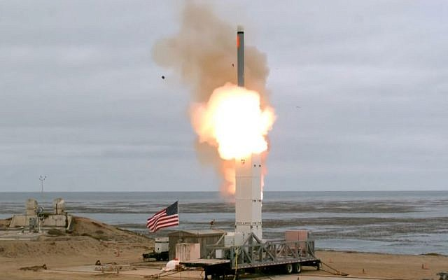 Illustrative: A test of a medium-range nuclear-capable cruise missile, launched from the US Navy-controlled San Nicolas Island, California, on August 18, 2019. (YouTube screen capture)