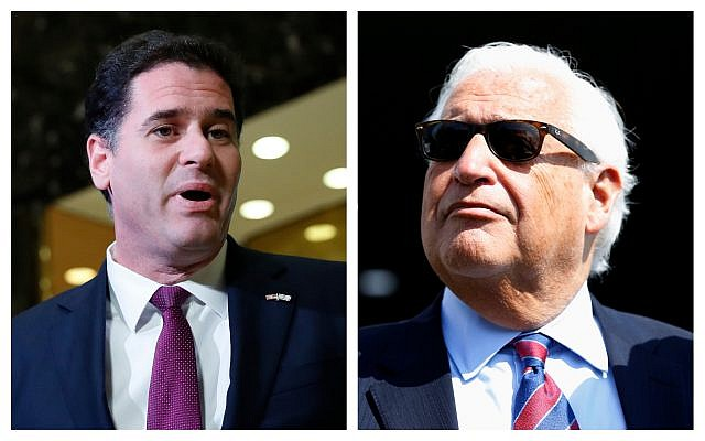 Left, Israeli Ambassador to the US, Ron Dermer (AP/Carolyn Kaster); right, US Ambassador to Israel, David Friedman (AP/Ariel Schalit).
