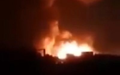 A still from a video purporting to show an Israeli strike on Iran-backed forces in Syria on August 24, 2019. (screen capture: Twitter)