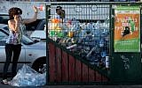 A woman throws a bottle into a recycling bin in Jerusalem. (Nati Shohat/Flash90)