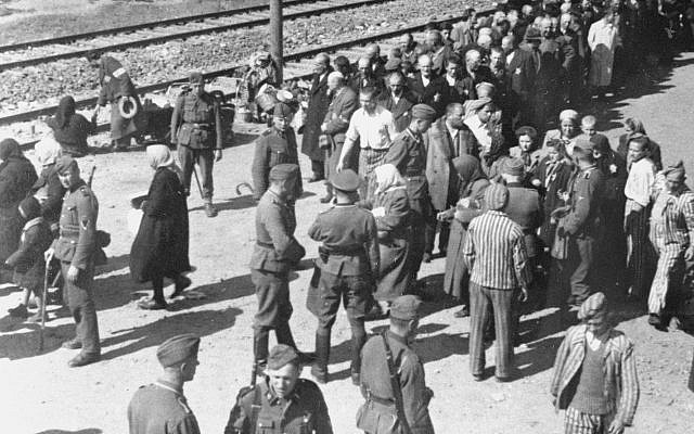One of several 'Auschwitz Album' images taken from atop a boxcar in May of 1944. Several of the SS officers and newly arrived Jewish victims have been identified (Yad Vashem)
